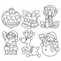 Витражи-мини набор 7: Дед Мороз, снеговик, шарик, колокольчики, свечка, олень
