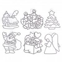 Витражи-мини набор 8: Дед Мороз, елка, ангел, дом, подарок, венок
